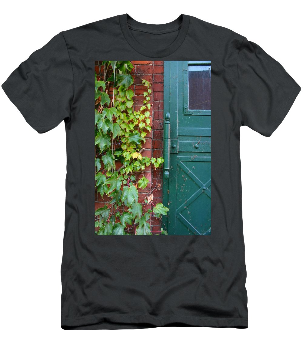 Vines Men's T-Shirt (Athletic Fit) featuring the photograph Enter Vine Door by Minaz Jantz