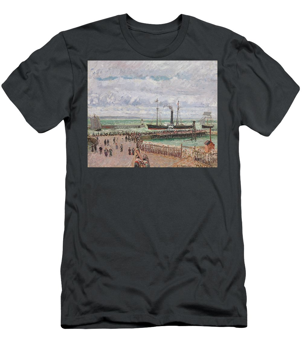 Harbor Men's T-Shirt (Athletic Fit) featuring the painting Entrance To The Port Of Le Havre And The West Breakwaters by Camille Pissarro