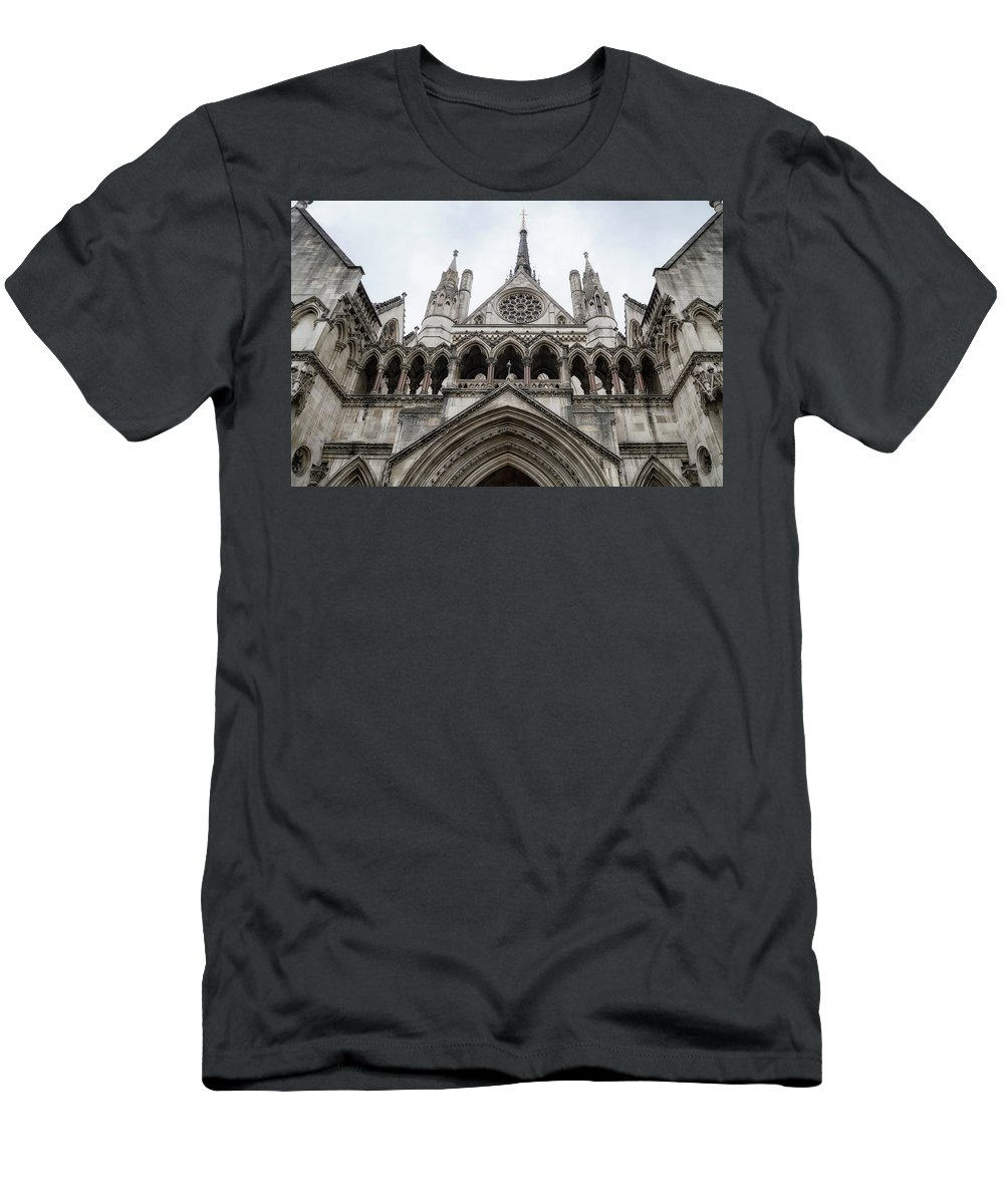 London Men's T-Shirt (Athletic Fit) featuring the photograph Entrance To The Royal Courts London by Shirley Mitchell