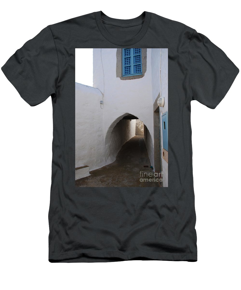 Patmos Men's T-Shirt (Athletic Fit) featuring the photograph Entrance Tunnel At Monastery Of Saint John The Theologian by Just Eclectic