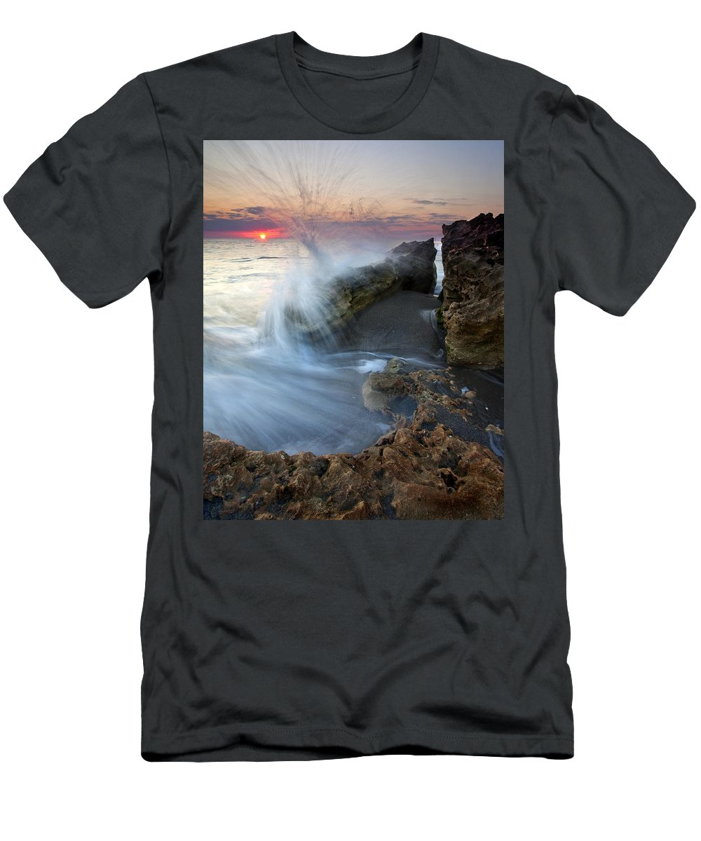 Blowing Rocks Men's T-Shirt (Athletic Fit) featuring the photograph Eruption At Dawn by Mike Dawson