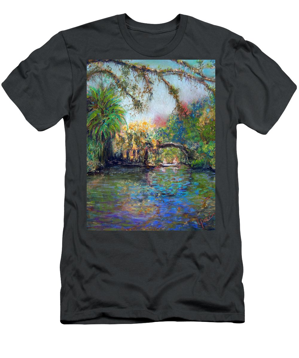 Koreshan State Park Men's T-Shirt (Athletic Fit) featuring the painting Estero River At Koreshan by Laurie Paci