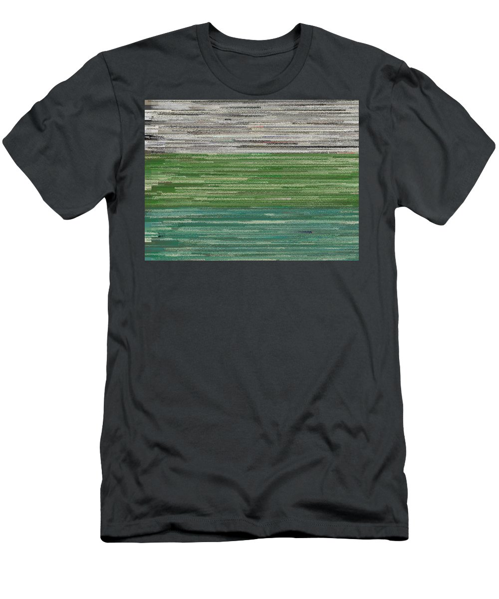 Rithmart Trees Water Sky Abstract Digital Brush Painting Picture Green Blue Grey Gray Landscape Nature Lake Ocean Sea Mountain Sun Moon Woods Forest Beautiful Color Dark Bright Light Leaf Leaves Brown Red Men's T-Shirt (Athletic Fit) featuring the digital art Et.18 by Gareth Lewis
