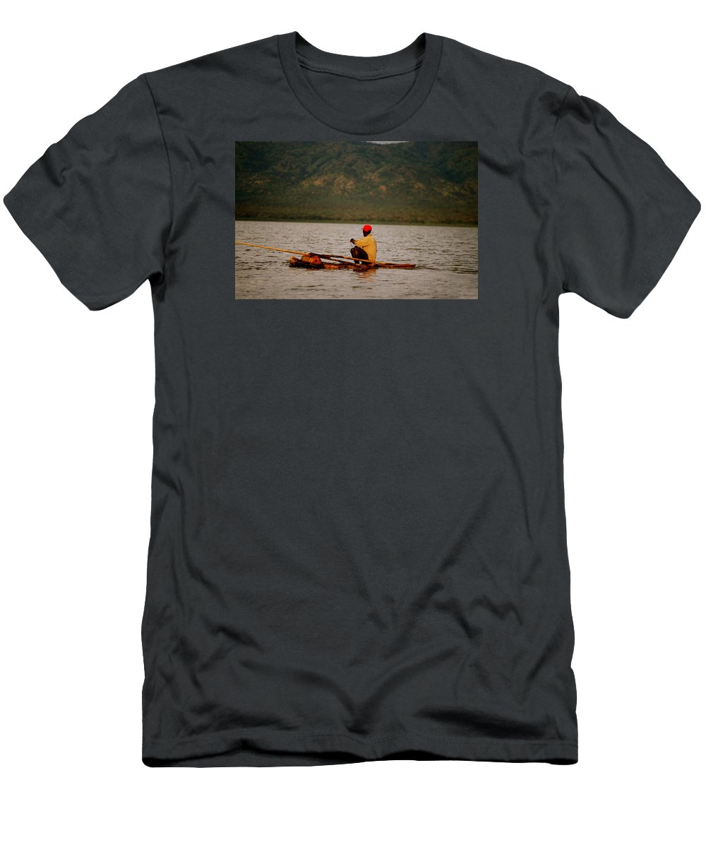 Africa Men's T-Shirt (Athletic Fit) featuring the photograph Ethiopia Baiting A Longline On Lake Chamo by Julian Wicksteed