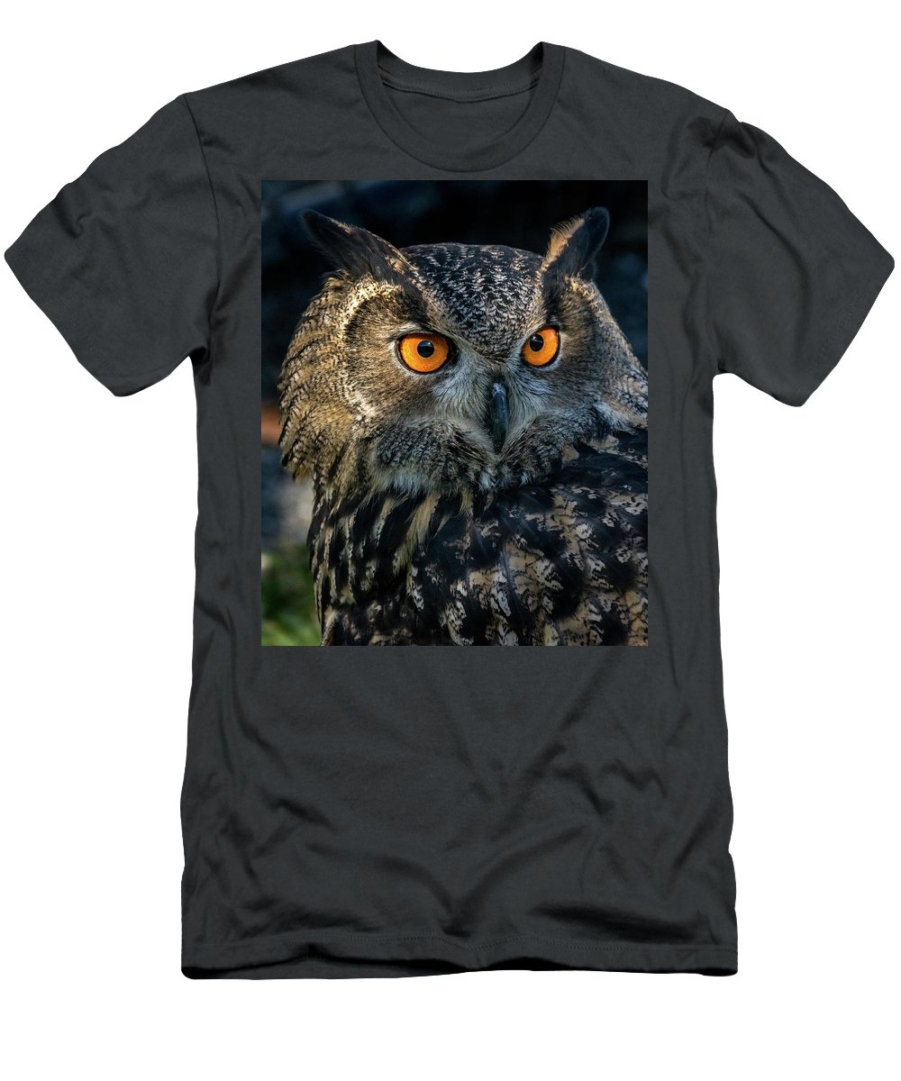 Bird Men's T-Shirt (Athletic Fit) featuring the photograph Eurasian Eagle Owl by Travis Boyd