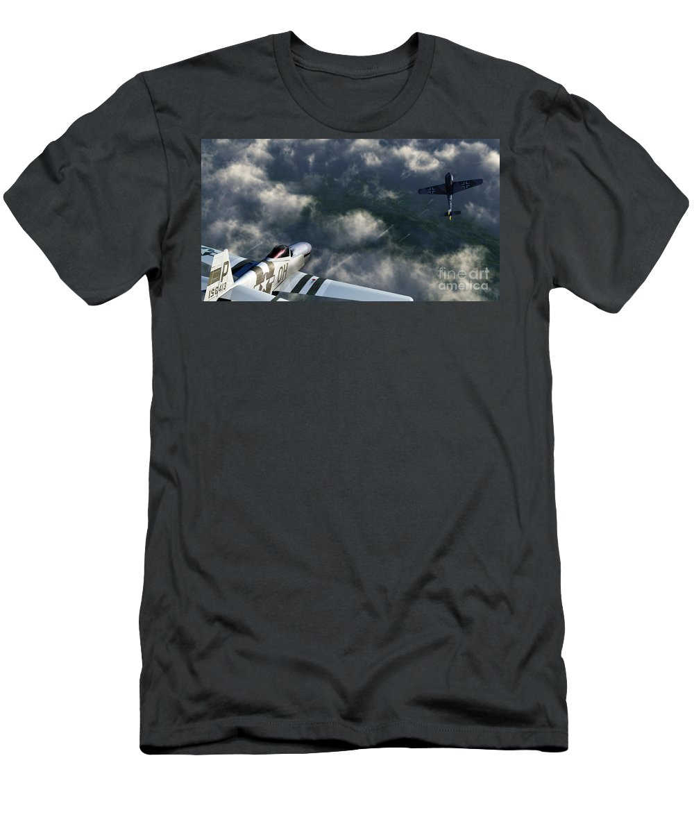 Warbirds Men's T-Shirt (Athletic Fit) featuring the digital art Evade by Richard Rizzo