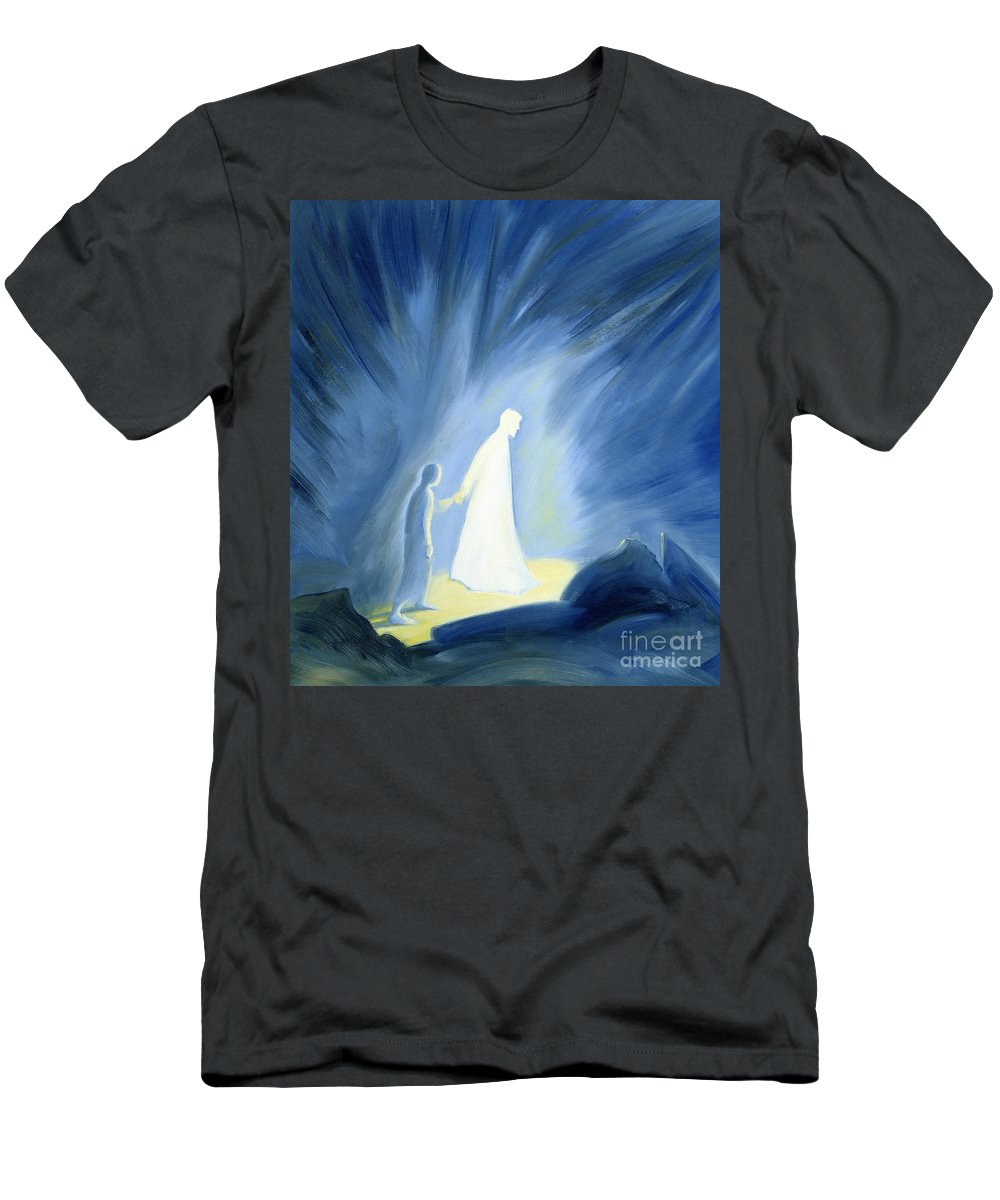Light; Help; Guidance; Faith; Trust;catholic;catholicism;guiding;helping;aiding; Suffering; Caring; Spiritual; Savior;protector;love;bright;spiritual;religion;religious; Darkness Men's T-Shirt (Athletic Fit) featuring the painting Even In The Darkness Of Out Sufferings Jesus Is Close To Us by Elizabeth Wang