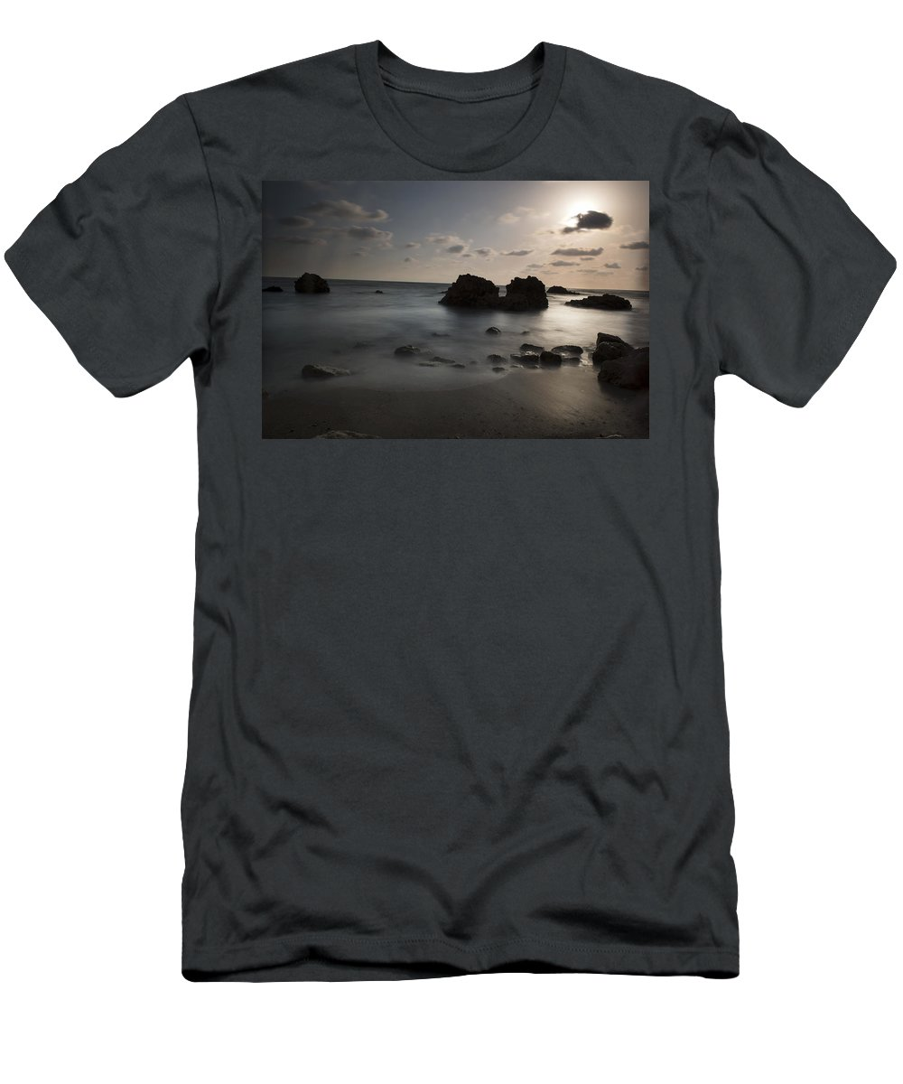 Evening Men's T-Shirt (Athletic Fit) featuring the photograph Evening At Sidna Ali Beach 1 by Dubi Roman