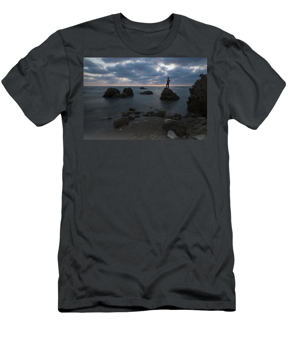 Evening Men's T-Shirt (Athletic Fit) featuring the photograph Evening At Sidna Ali Beach 3 by Dubi Roman