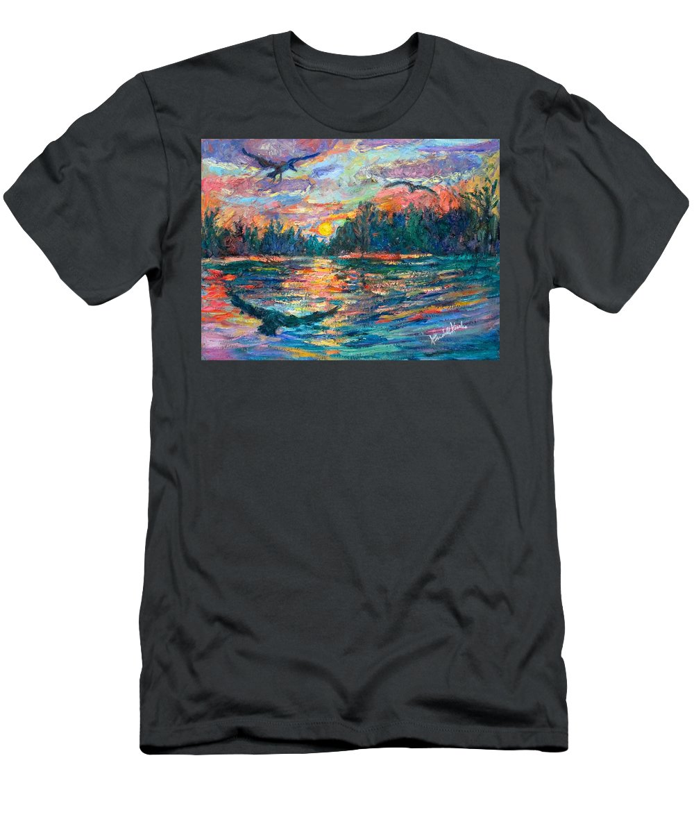 Landscape Men's T-Shirt (Athletic Fit) featuring the painting Evening Flight by Kendall Kessler