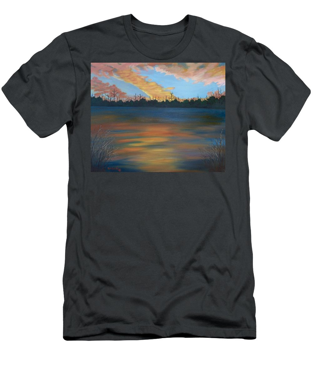 Landscape Men's T-Shirt (Athletic Fit) featuring the painting Evening Peace by Ruth Housley