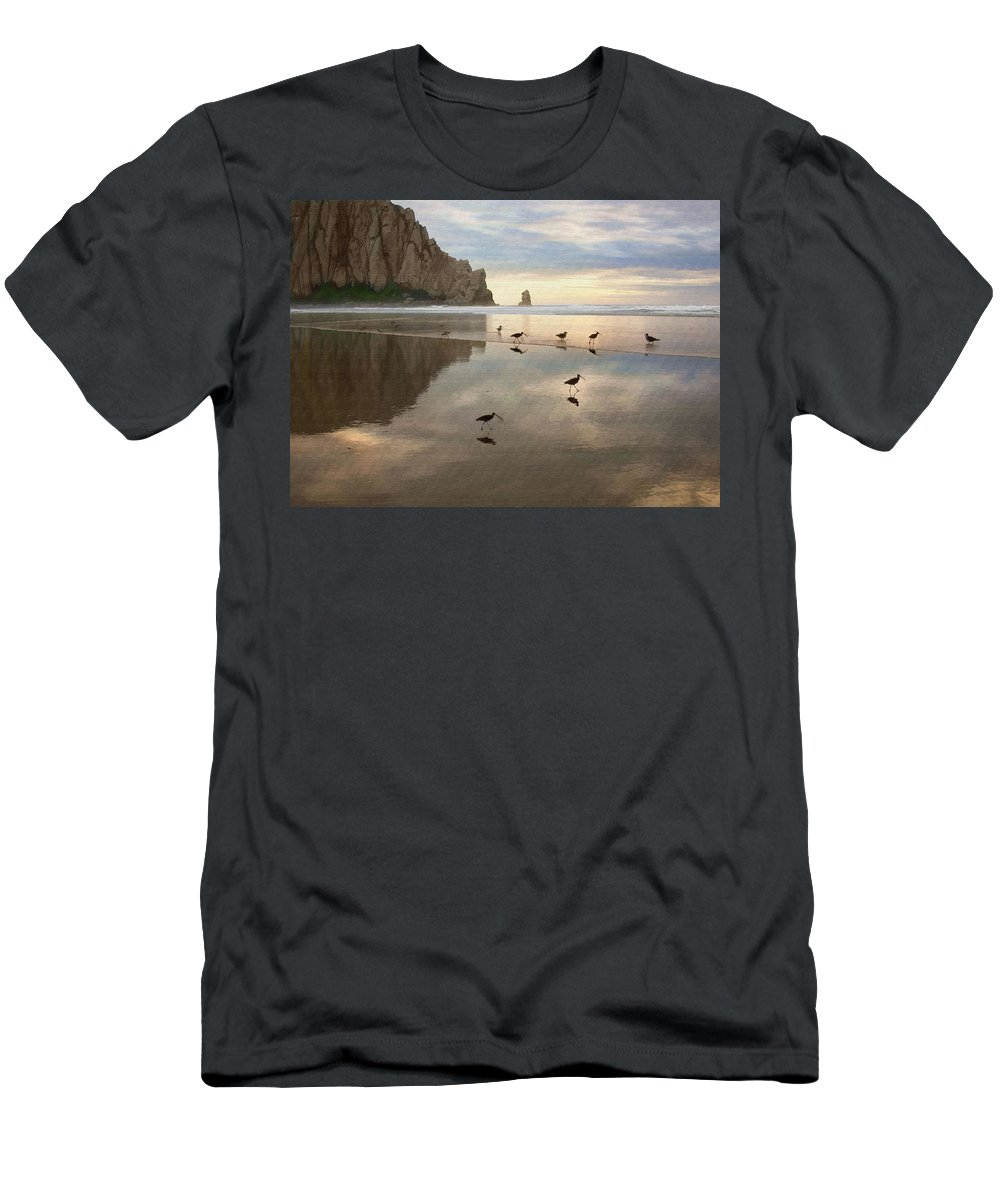 Morro Rock Men's T-Shirt (Athletic Fit) featuring the digital art Evening Reflection by Sharon Foster