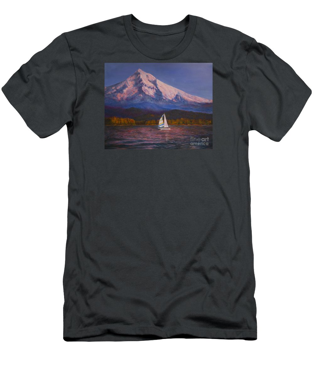 Landscape Men's T-Shirt (Athletic Fit) featuring the painting Evening Sail by Jeanette French