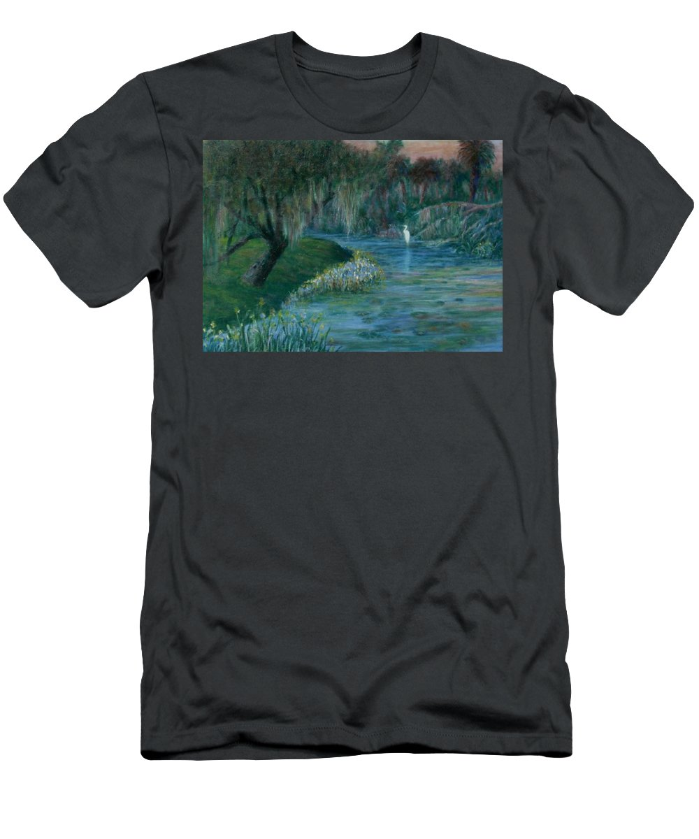 Low Country; Egrets; Lily Pads T-Shirt featuring the painting Evening Shadows by Ben Kiger