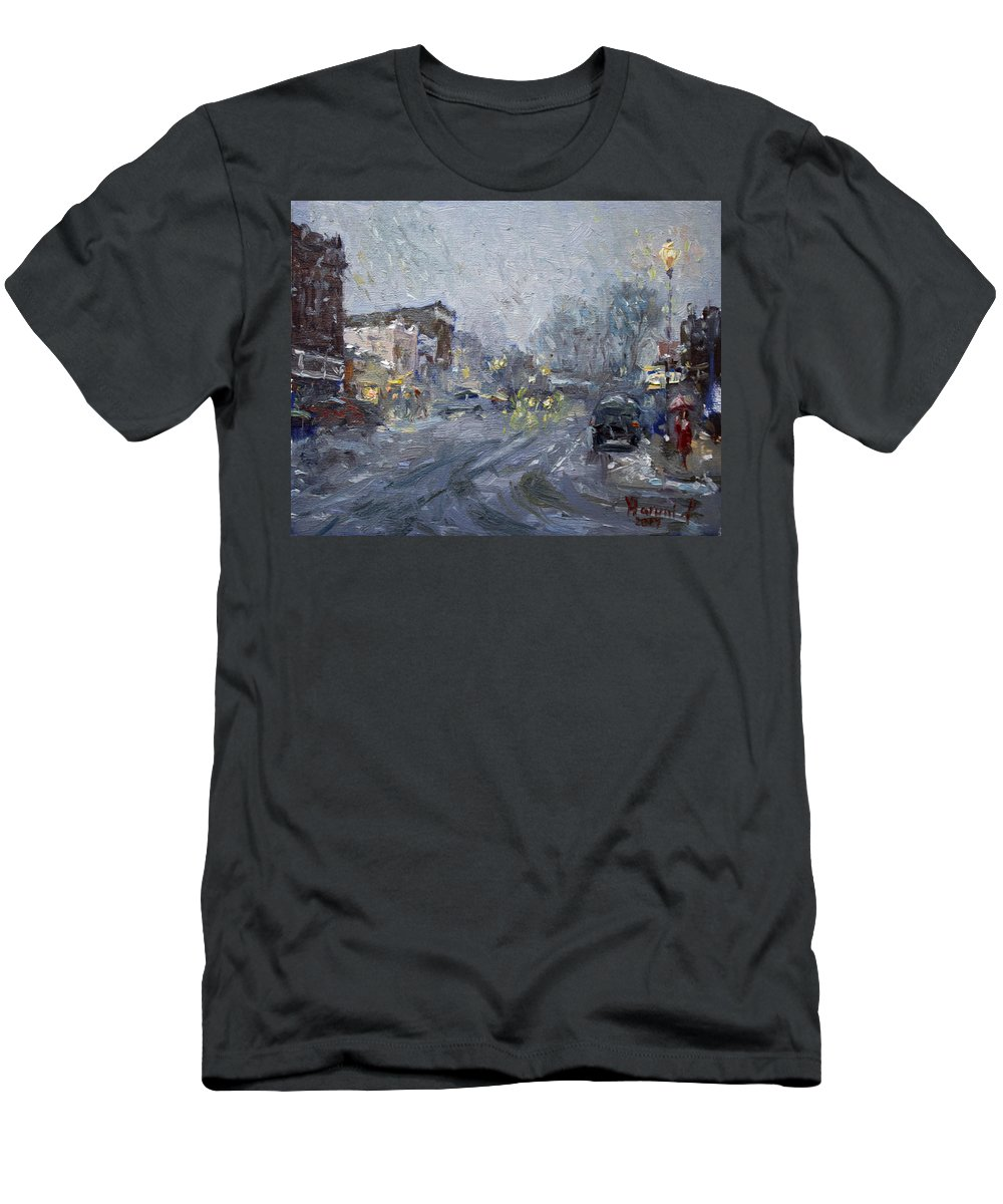 Evening Men's T-Shirt (Athletic Fit) featuring the painting Evening Snowfall At Webster St by Ylli Haruni