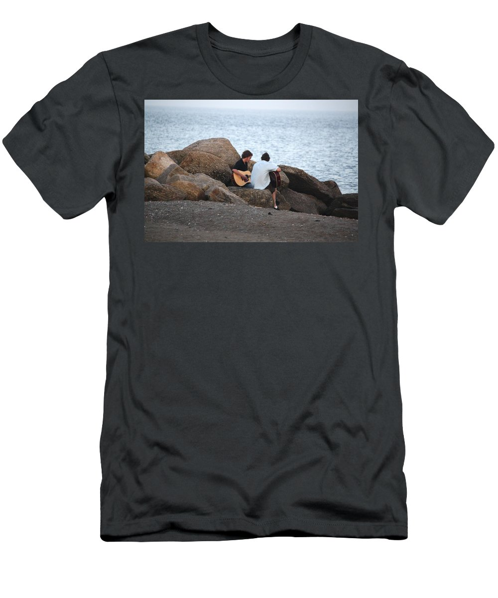 Rocks Men's T-Shirt (Athletic Fit) featuring the photograph Evening Song by Donna Walsh