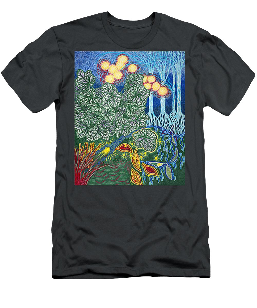 Art Men's T-Shirt (Athletic Fit) featuring the drawing Exciting Harmony Art Prints And Gifts Autumn Leaves Botanical Garden Park Plants by Baslee Troutman