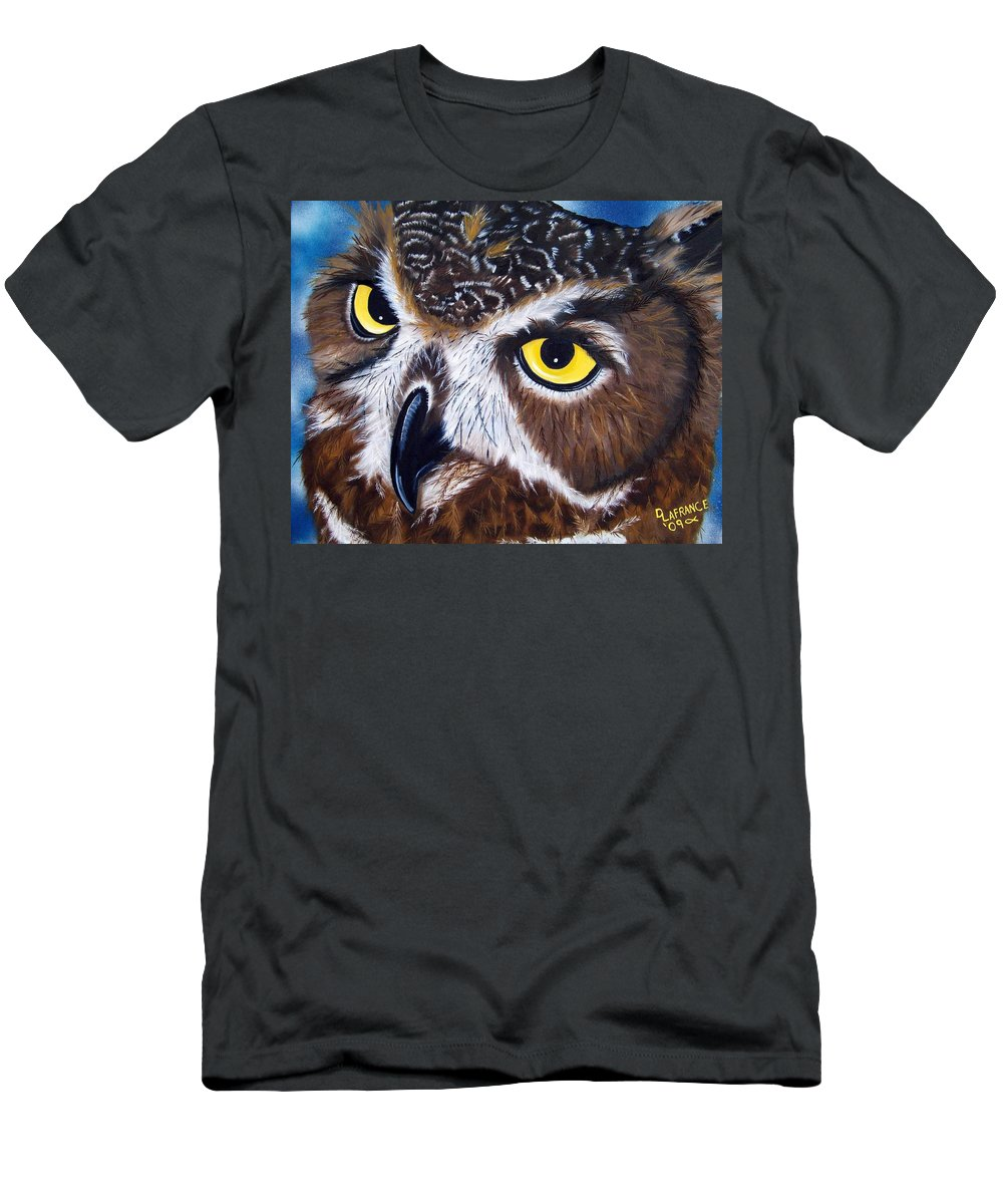 Owl Men's T-Shirt (Athletic Fit) featuring the painting Eyes Of Wisdom by Debbie LaFrance