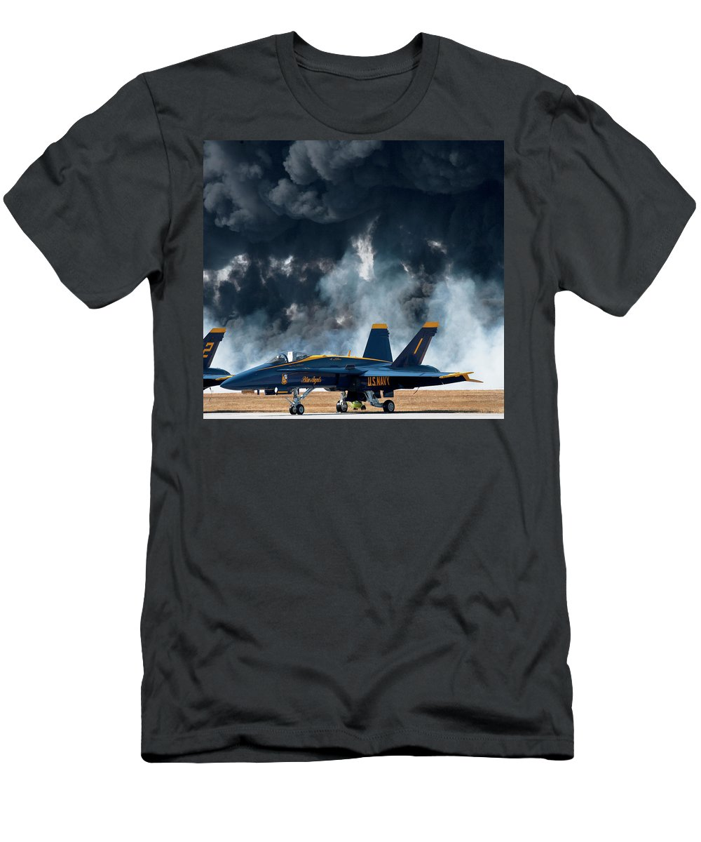 F/a-18 Super Hornet Men's T-Shirt (Athletic Fit) featuring the photograph F/a -18 Super Hornet, U S Navy Blue Angeles by Bruce Beck