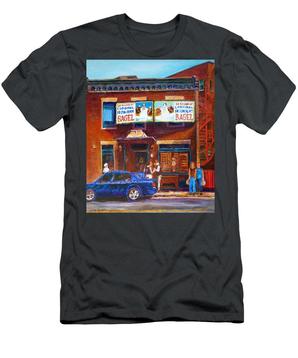 Fairmount Bagel Men's T-Shirt (Athletic Fit) featuring the painting Fairmount Bagel With Blue Car by Carole Spandau