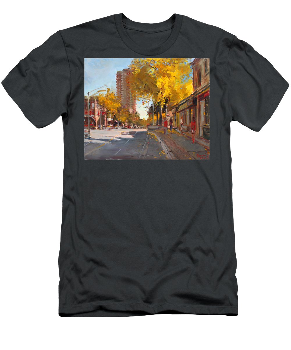 Fall In Canada Men's T-Shirt (Athletic Fit) featuring the painting Fall 2010 Canada by Ylli Haruni