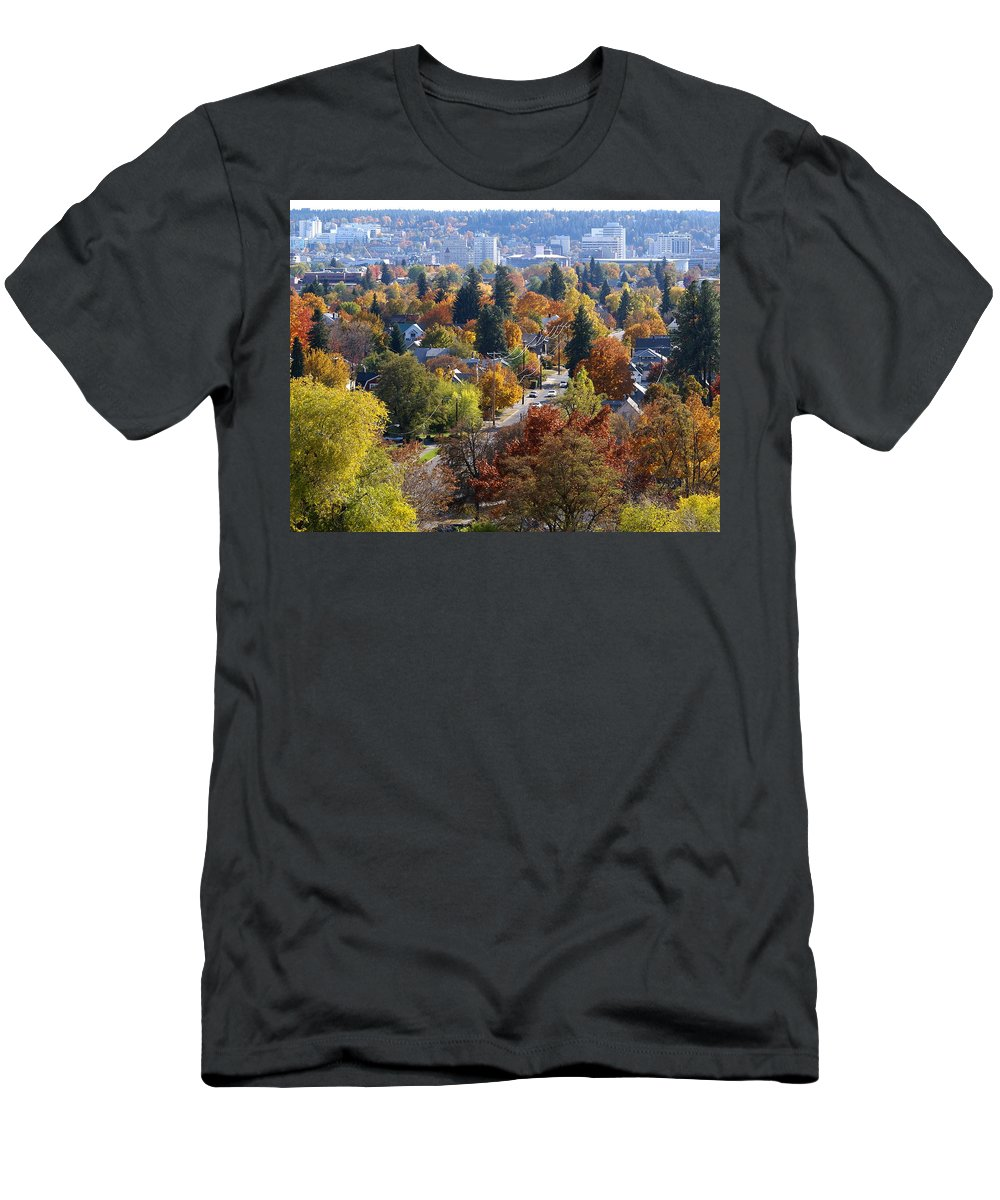 Fall Colors Men's T-Shirt (Athletic Fit) featuring the photograph Fall Colors In Spokane From The Post Street Hill by Ben Upham III