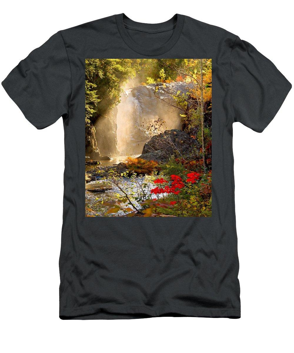 Fall T-Shirt featuring the photograph Fall Falls Mist Dead River Falls Marquette MI by Michael Bessler