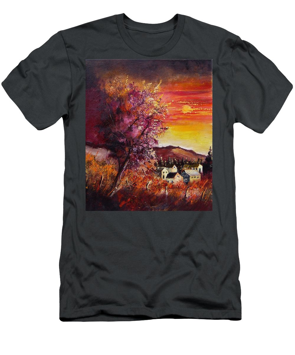 Autumn Men's T-Shirt (Athletic Fit) featuring the painting Fall In Villers by Pol Ledent
