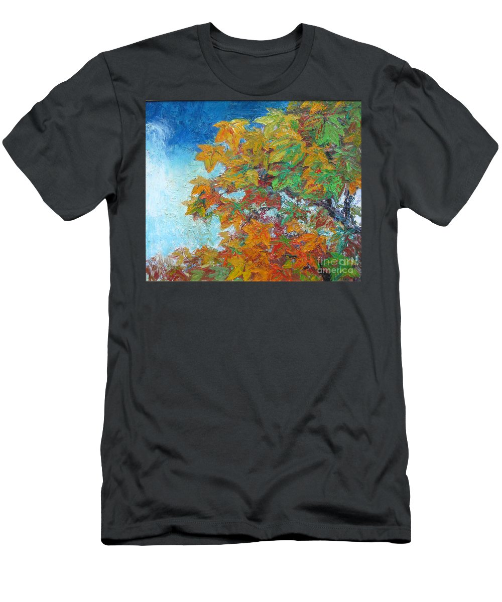 Fall T-Shirt featuring the painting Fall Leaves by Meihua Lu