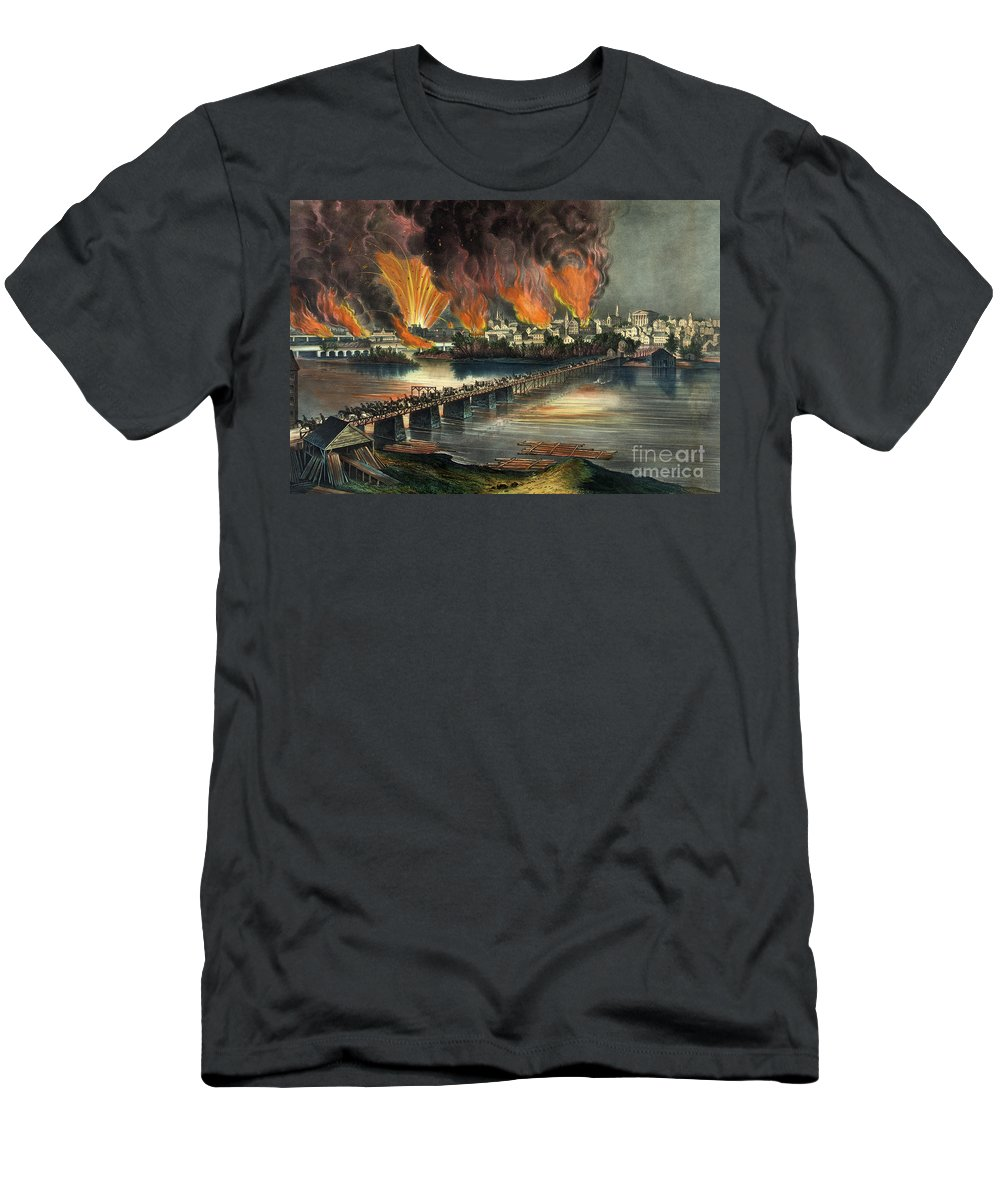 Fall Of Richmond Men's T-Shirt (Athletic Fit) featuring the painting Fall Of Richmond by American School
