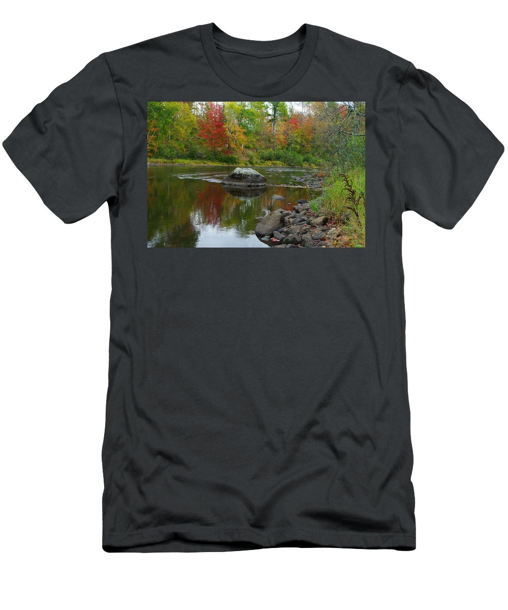 River Men's T-Shirt (Athletic Fit) featuring the photograph Fall River Reflection by Alice Markham