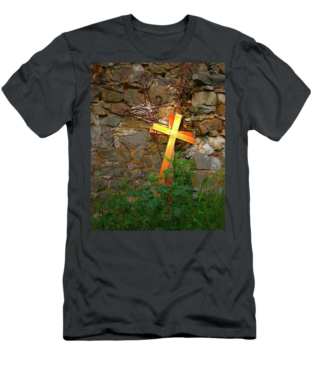 Men's T-Shirt (Athletic Fit) featuring the photograph Falling Crosses by Angela Wright