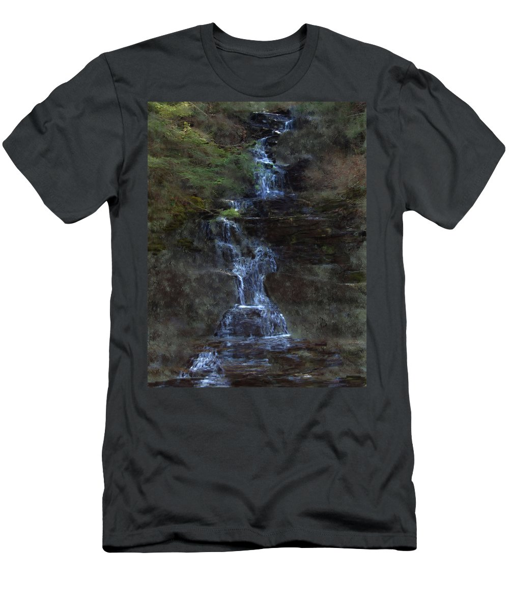 Men's T-Shirt (Athletic Fit) featuring the photograph Falls At 6 Mile Creek Ithaca N.y. by David Lane