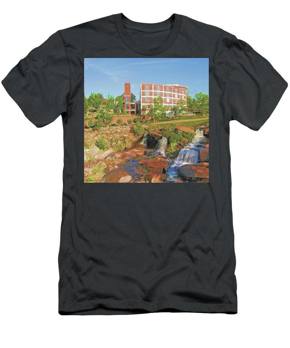 Waterfall Men's T-Shirt (Athletic Fit) featuring the digital art Falls Park by Greg Joens