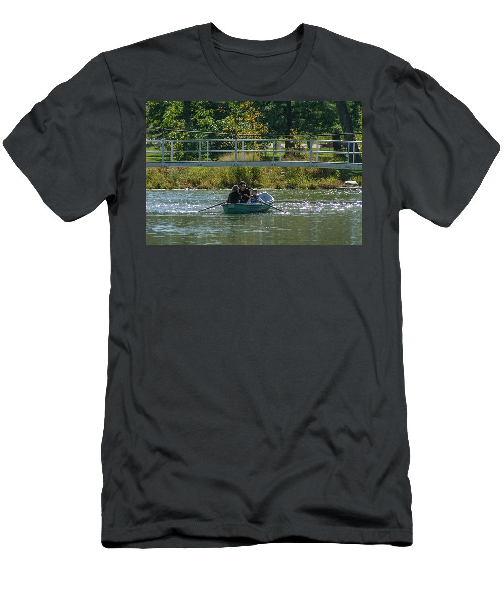 Forest Park Men's T-Shirt (Athletic Fit) featuring the photograph Family Boating If Forest Park by Garry McMichael
