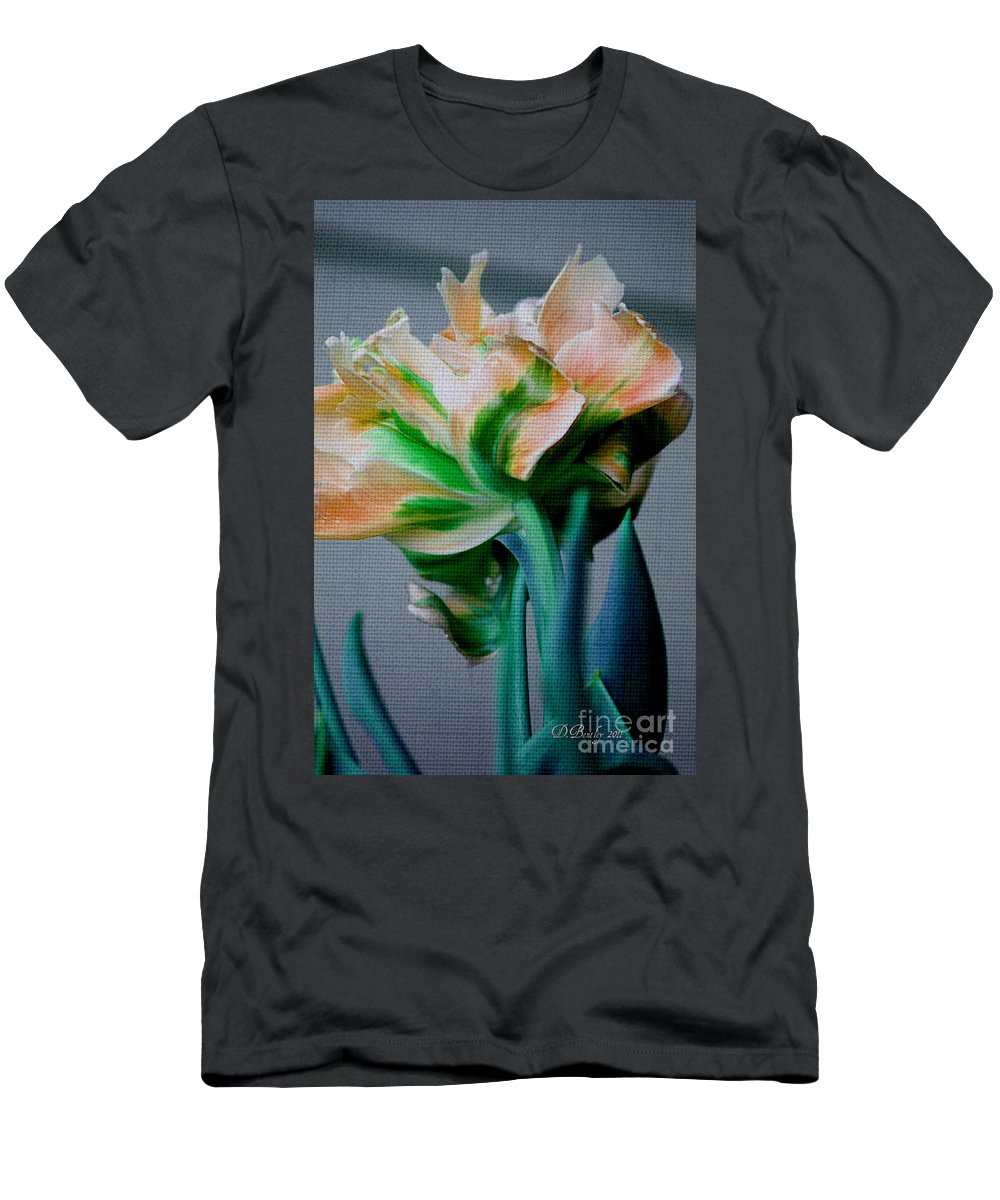 Flower Men's T-Shirt (Athletic Fit) featuring the photograph Fancy Tulip by Donna Bentley