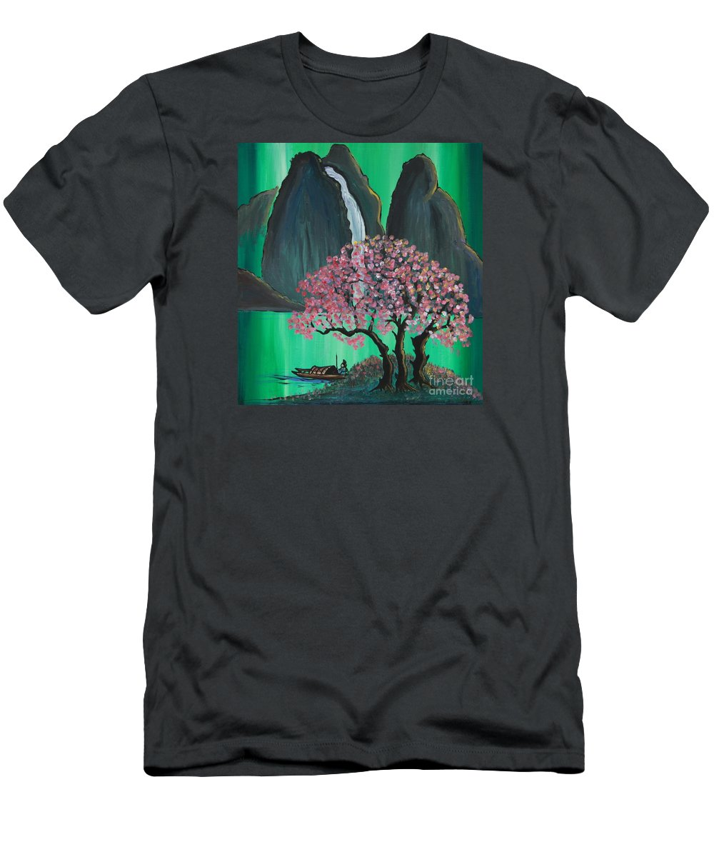 Japan Men's T-Shirt (Athletic Fit) featuring the painting Fantasy Japan by Jacqueline Athmann