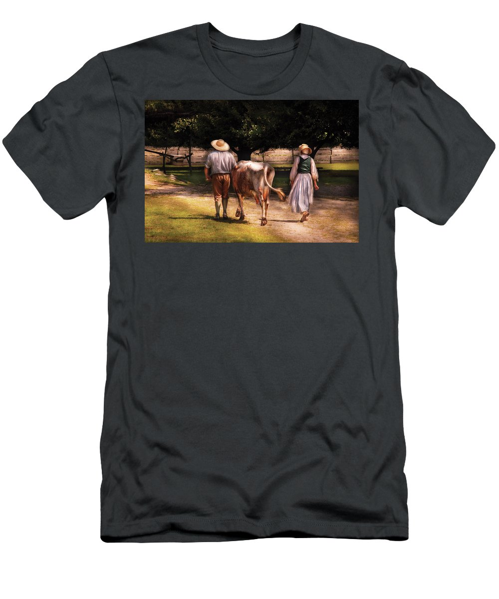 Savad Men's T-Shirt (Athletic Fit) featuring the photograph Farm - Cow - Time For Milking by Mike Savad