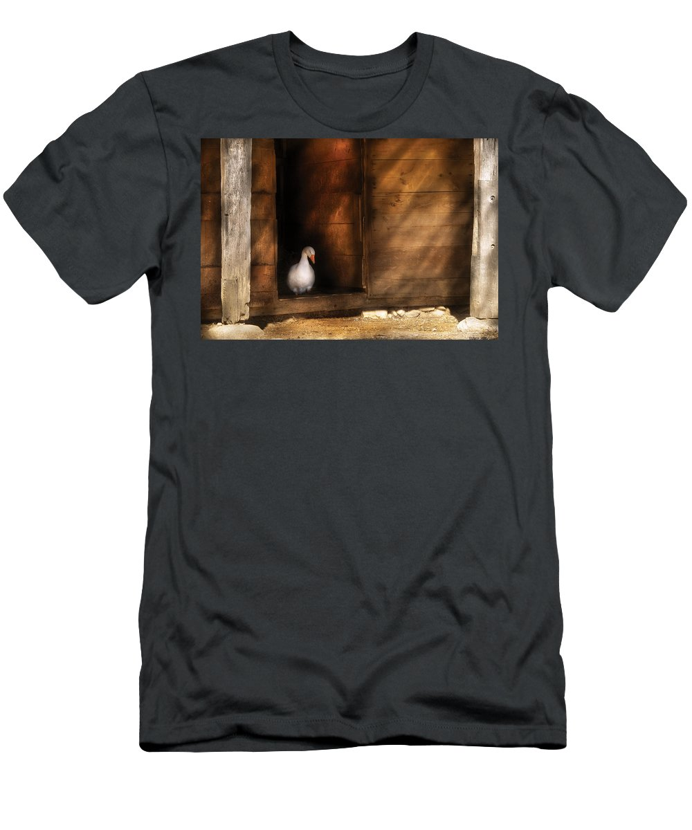 Savad Men's T-Shirt (Athletic Fit) featuring the photograph Farm - Duck - Welcome To My Home by Mike Savad