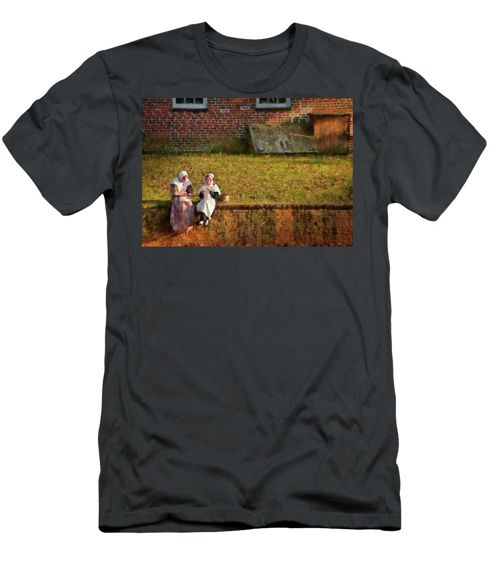 Savad Men's T-Shirt (Athletic Fit) featuring the photograph Farm - Farmer - Afternoon Break by Mike Savad