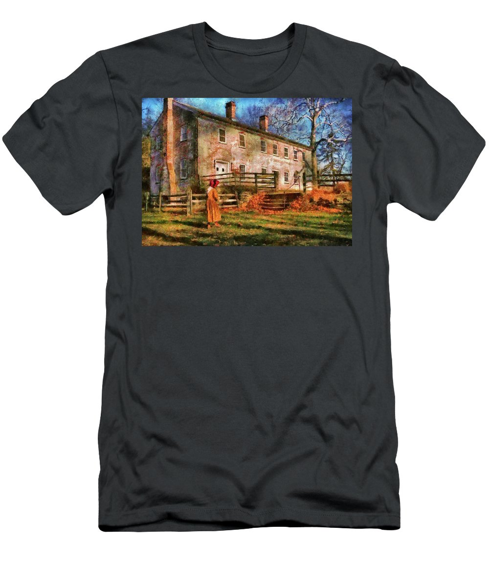 Savad Men's T-Shirt (Athletic Fit) featuring the photograph Farm - Farmer - There Was An Old Lady by Mike Savad
