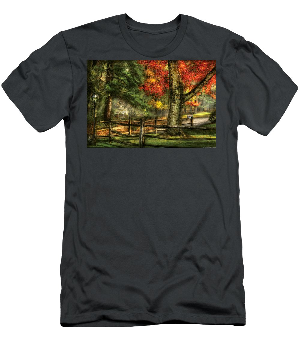 Savad Men's T-Shirt (Athletic Fit) featuring the photograph Farm - Fence - On A Country Road by Mike Savad