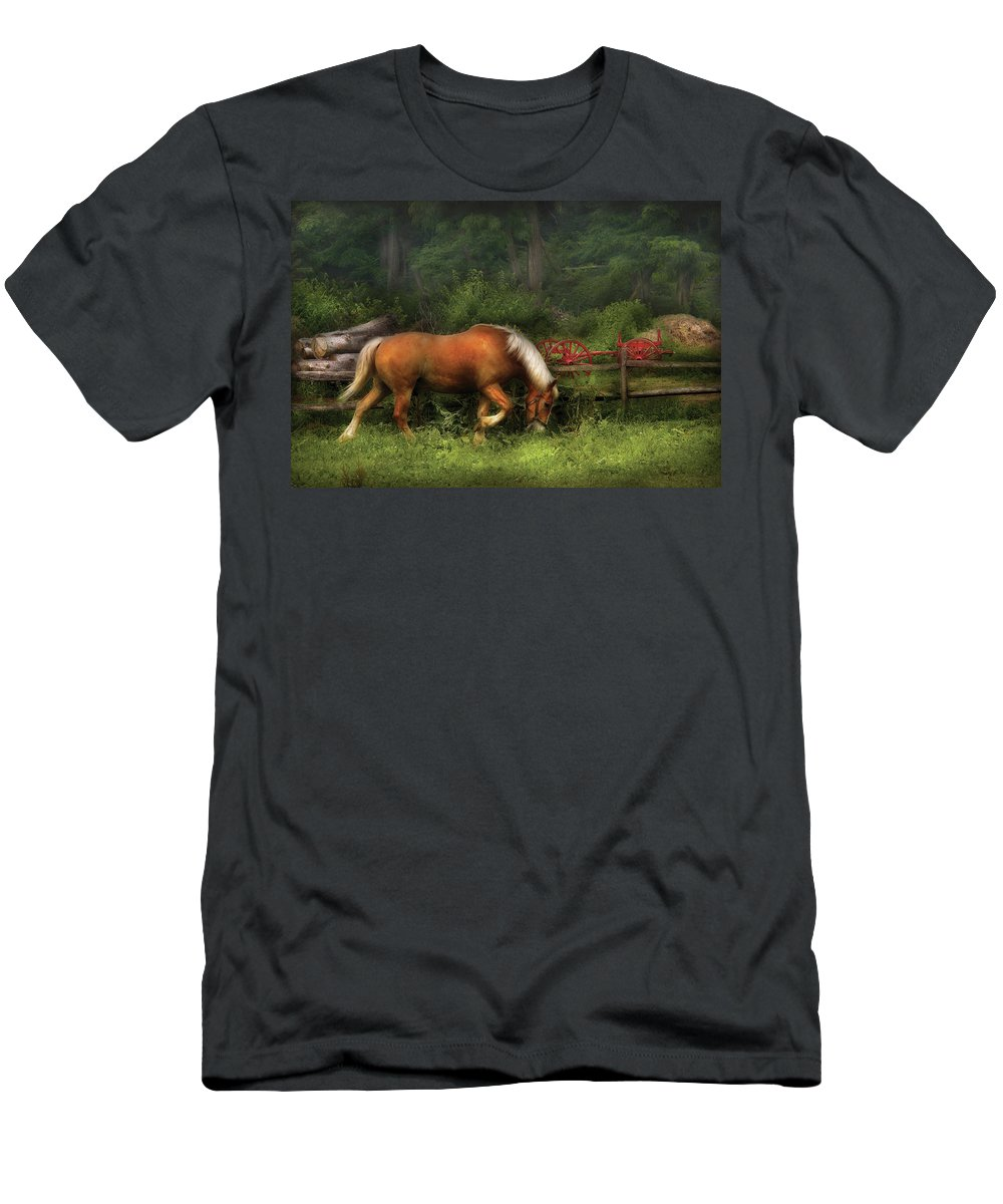 Savad Men's T-Shirt (Athletic Fit) featuring the photograph Farm - Horse - In The Meadow by Mike Savad