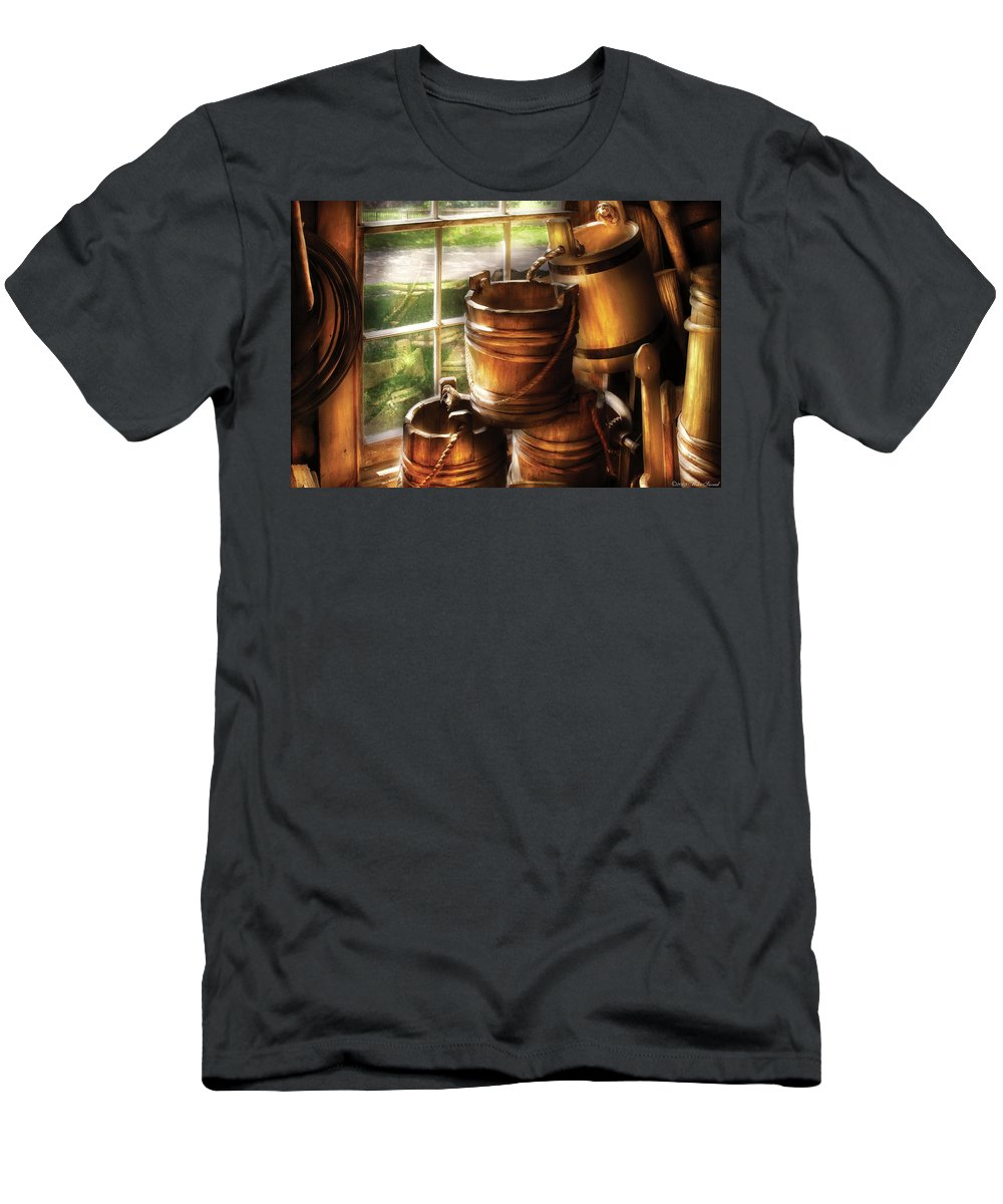 Savad Men's T-Shirt (Athletic Fit) featuring the photograph Farm - Pail - A Pile Of Pails by Mike Savad