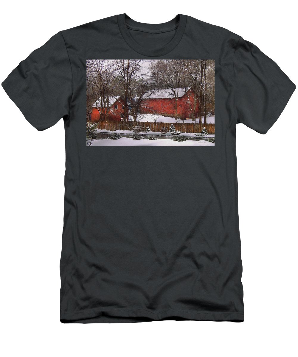 Savad Men's T-Shirt (Athletic Fit) featuring the photograph Farm - Barn - Winter In The Country by Mike Savad