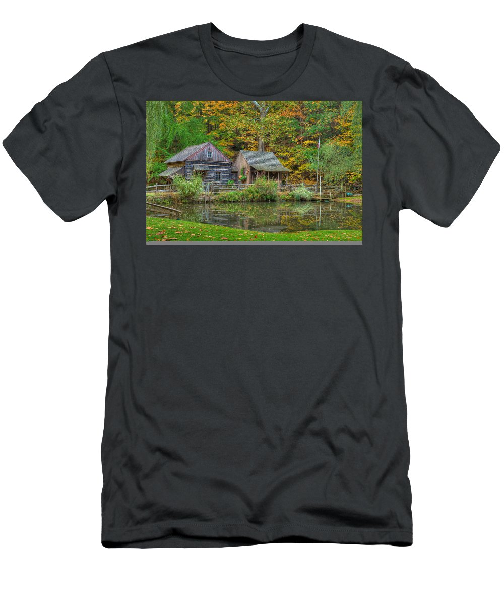 Farm Men's T-Shirt (Athletic Fit) featuring the photograph Farm In Woods by William Jobes