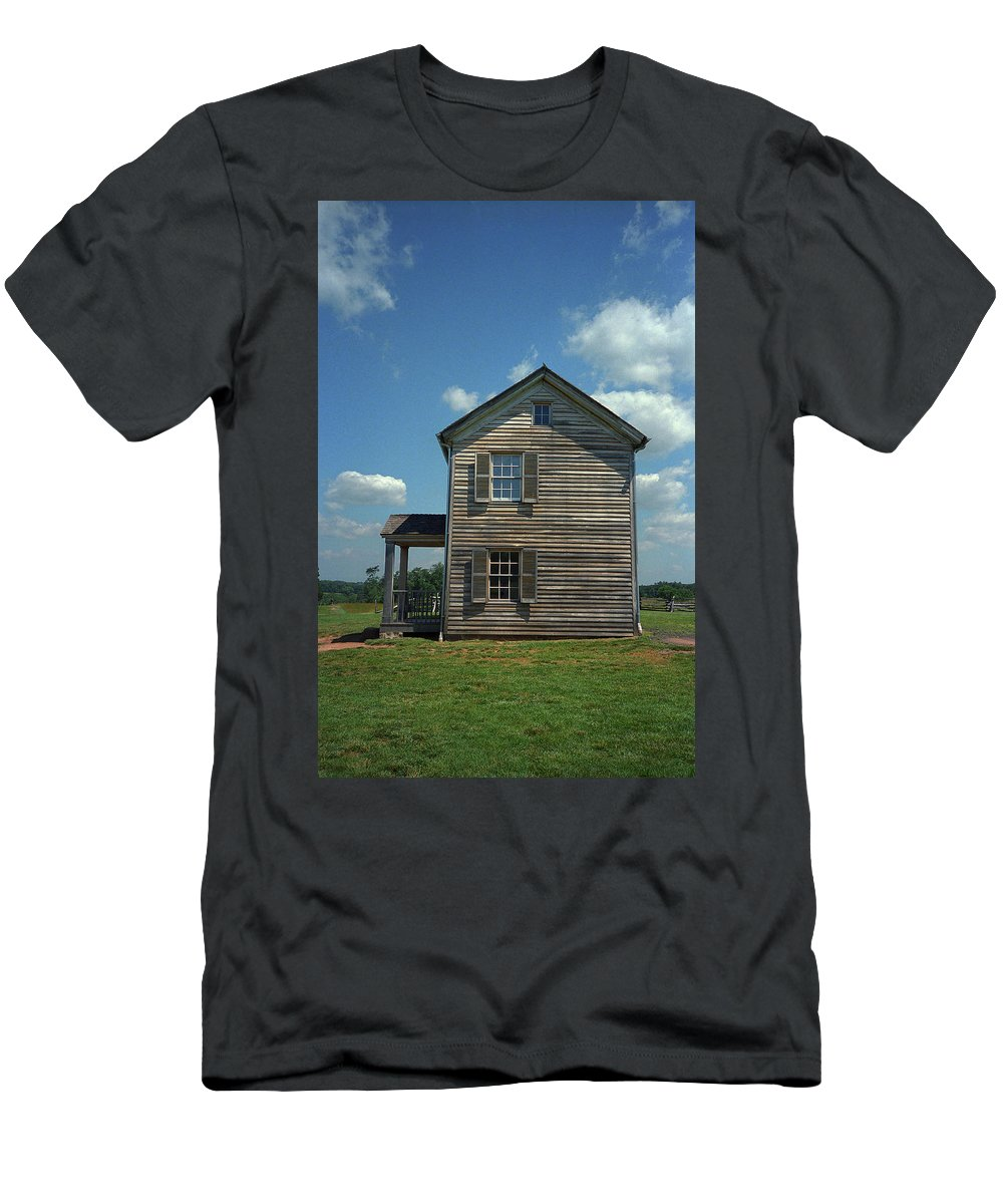 Agriculture Men's T-Shirt (Athletic Fit) featuring the photograph Farmhouse by Frank Romeo
