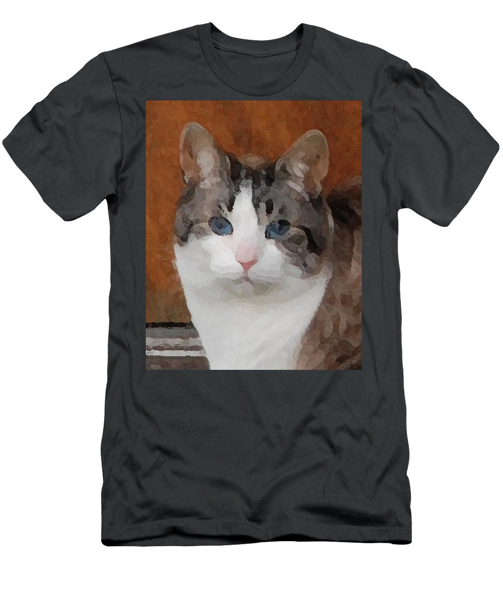 Cat Men's T-Shirt (Athletic Fit) featuring the photograph Fat Cats Of Ballard 3 by Carol Eliassen