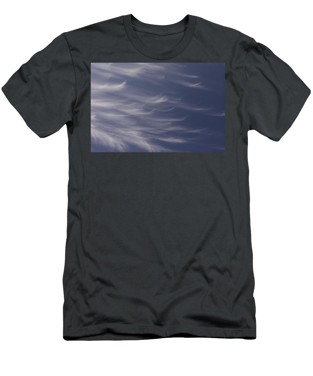 Sky Blue Clouds White Feather Photography Photograph Men's T-Shirt (Athletic Fit) featuring the photograph Feathery Sky by Shari Jardina