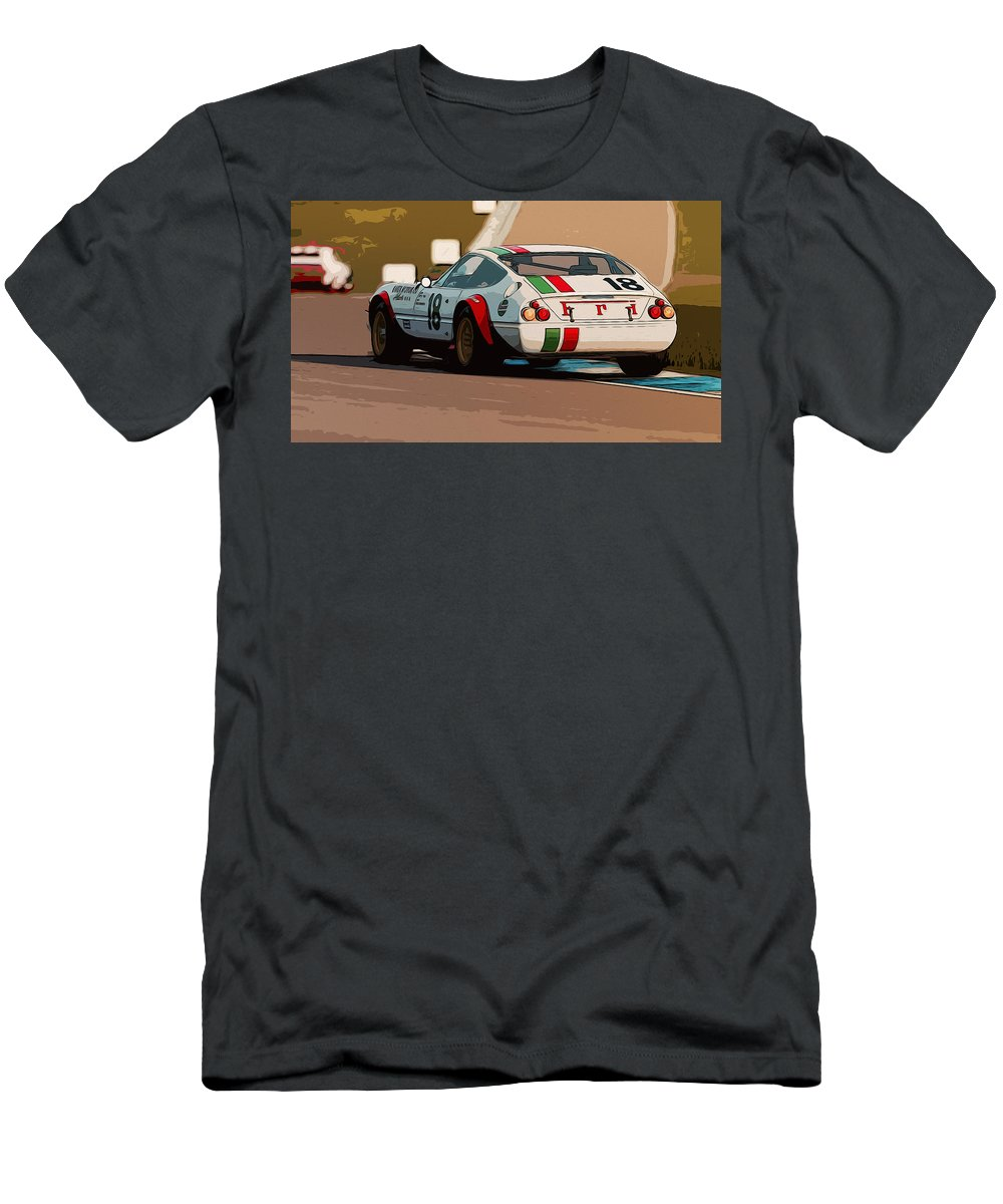 Ferrari 365 Gtb4 Men's T-Shirt (Athletic Fit) featuring the painting Ferrari Daytona - Italian Flag Livery by Andrea Mazzocchetti